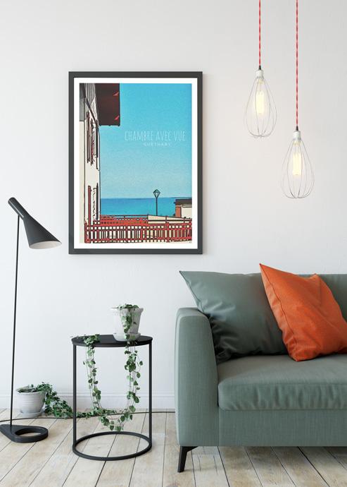 guethary affiche ocean cadeau deco