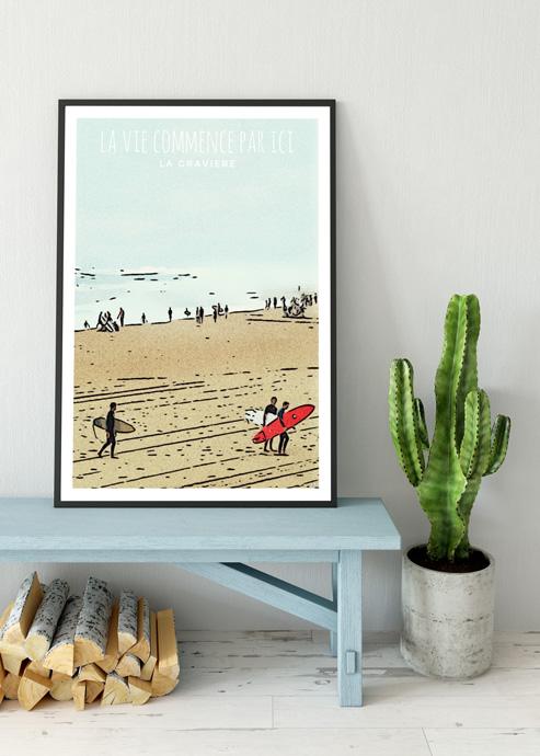 surf affiches plage hossegor