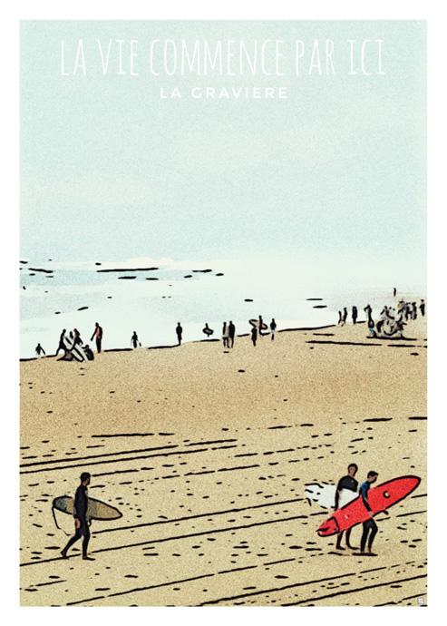 affiche guy surf plage