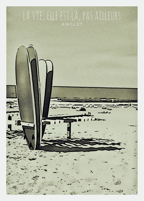 surf anglet pays basque affiche guy