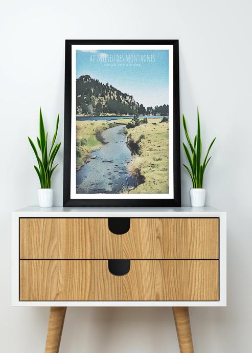 affiche pyrennées riviere