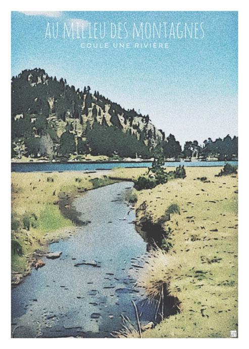 affiche pyrenées riviere